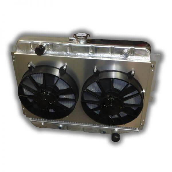 """26"""" Big Block Mopar Radiator - Dual 11"""" HP Fans And Aluminum Shroud"""
