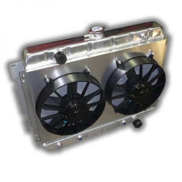 """1967 - 1974 Mopar Small Block 26"""" Radiator - Dual 11"""" HP Fans And Aluminum Shroud"""